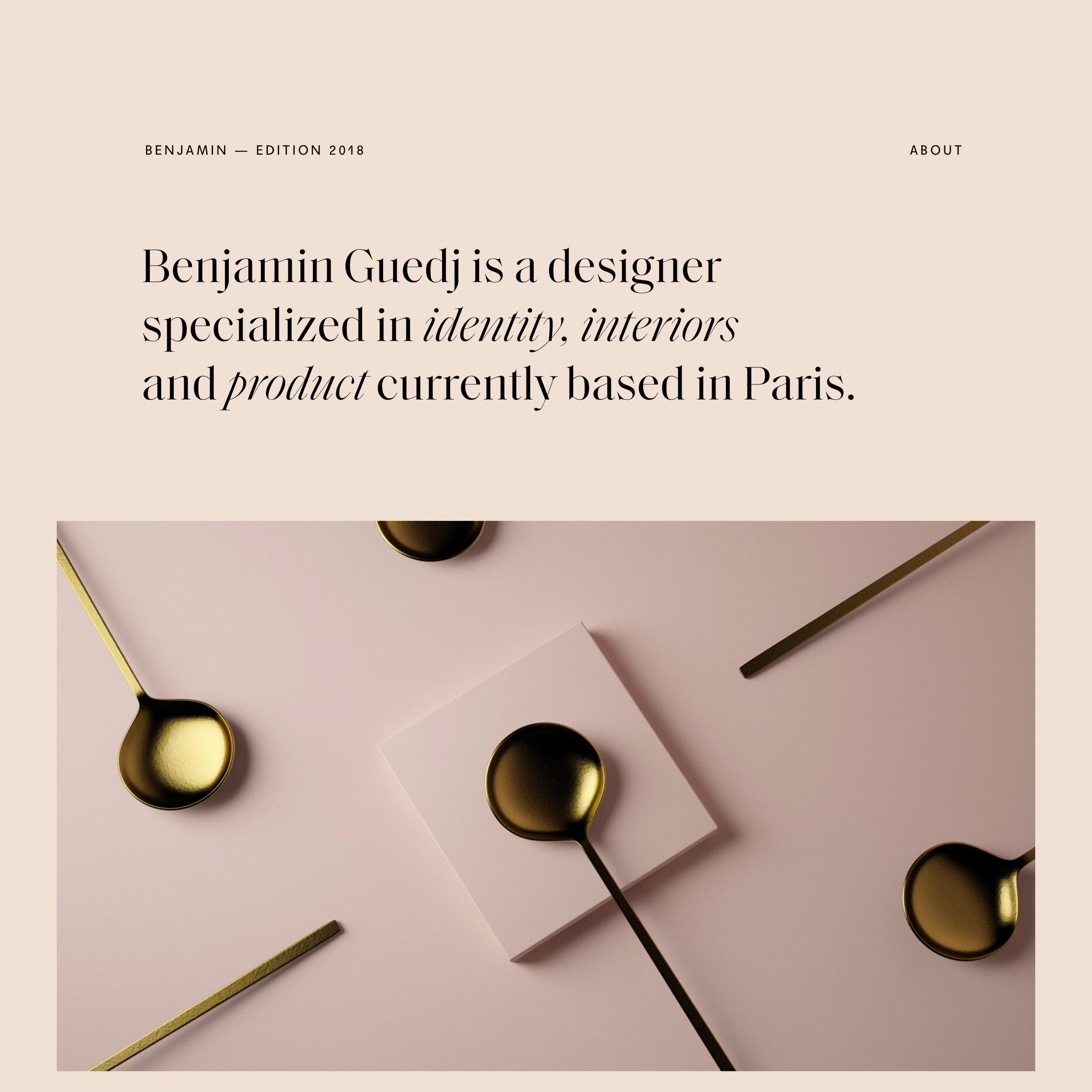 Benjamin Guedj    Fonts:       Saol Display, Agipo