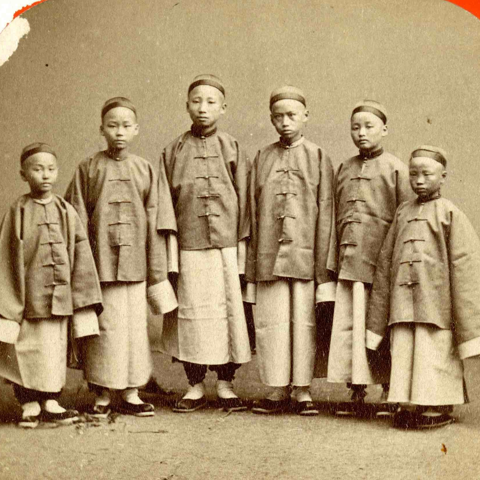 """""""Some of the Chinese students as they landed in San Francisco in 1872,""""Thomas E. LaFargue Papers, 1873-1946, 2-1-5,Manuscripts, Archives, and Special Collections, Washington State University Libraries. Used by permission."""