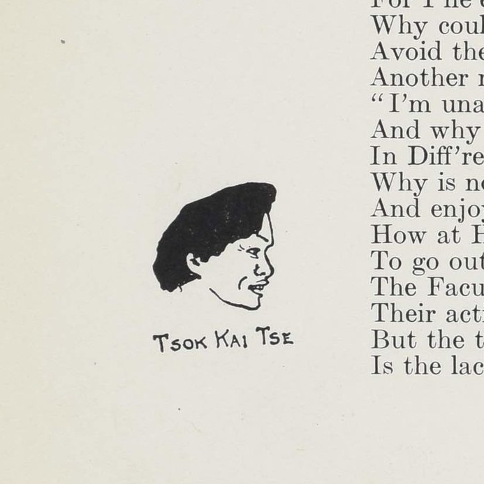 Caricature of Tse Tsok Kai from MIT  Technique  1908. Image courtesy MIT Archives and Special Collections.