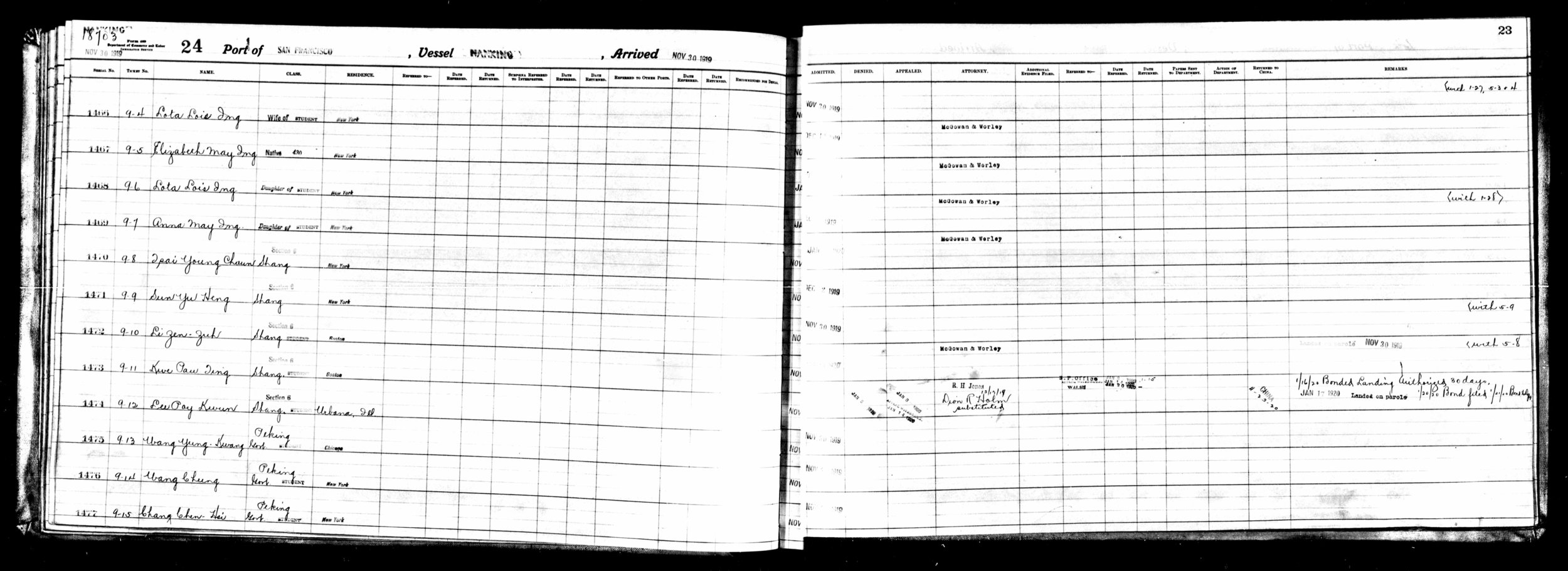 Lists of Chinese Applying for Admission to the United States through the Port of San Francisco, California, compiled 07/07/1903-01/07/1947; (National Archives Microfilm Publication M1476, 27 rolls. ARC Identifier 4482916); Records of the Immigration and Naturalization Service, Record Group 85; National Archives, Washington, D.C.