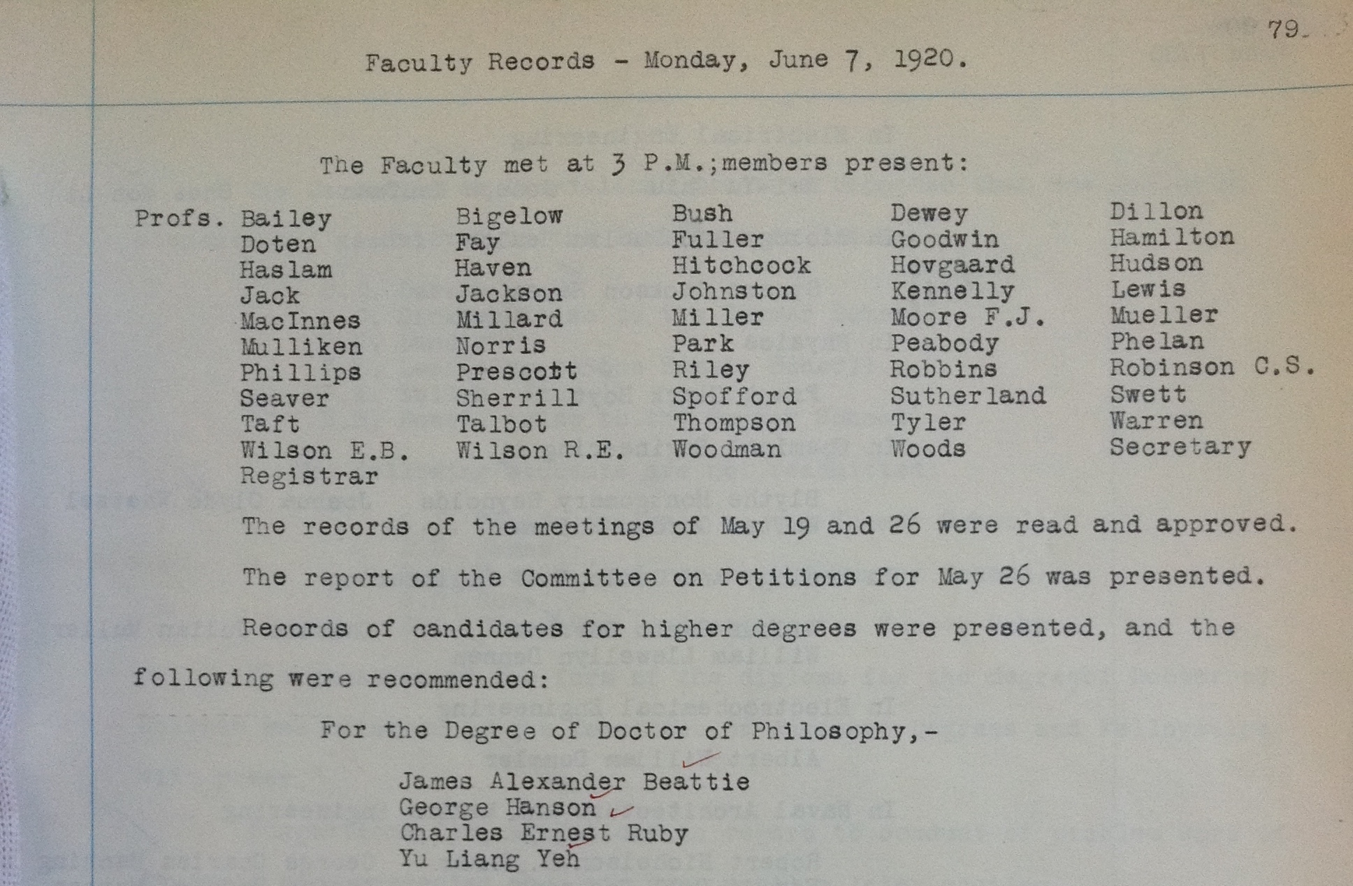 MIT Faculty Records, Monday, June 7, 1920, 79. Courtesy MIT Archives and Special Collections.