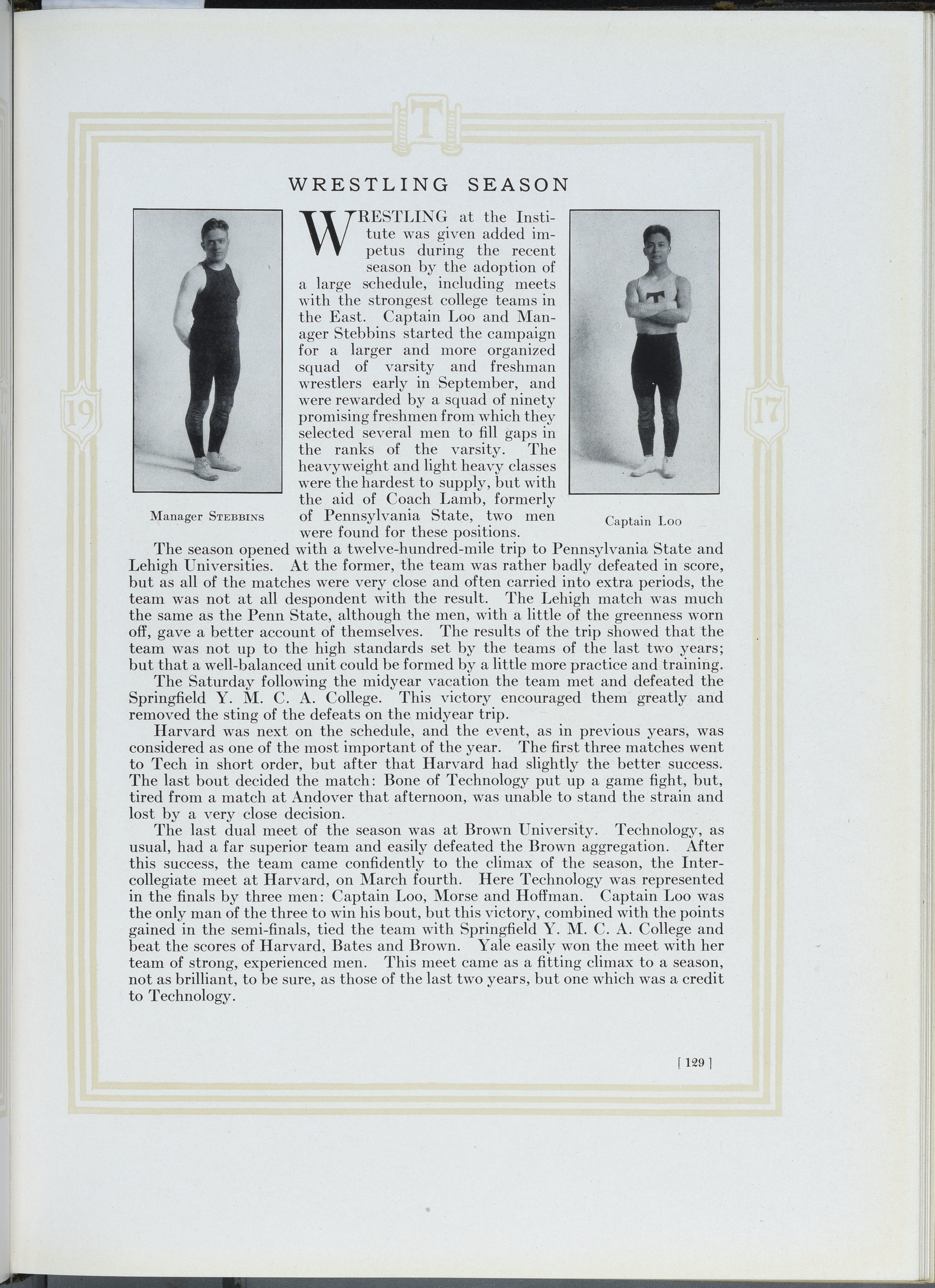 """""""Wrestling Season,"""" Technique 1917, 129. Image courtesy MIT Archive and Special Collections."""