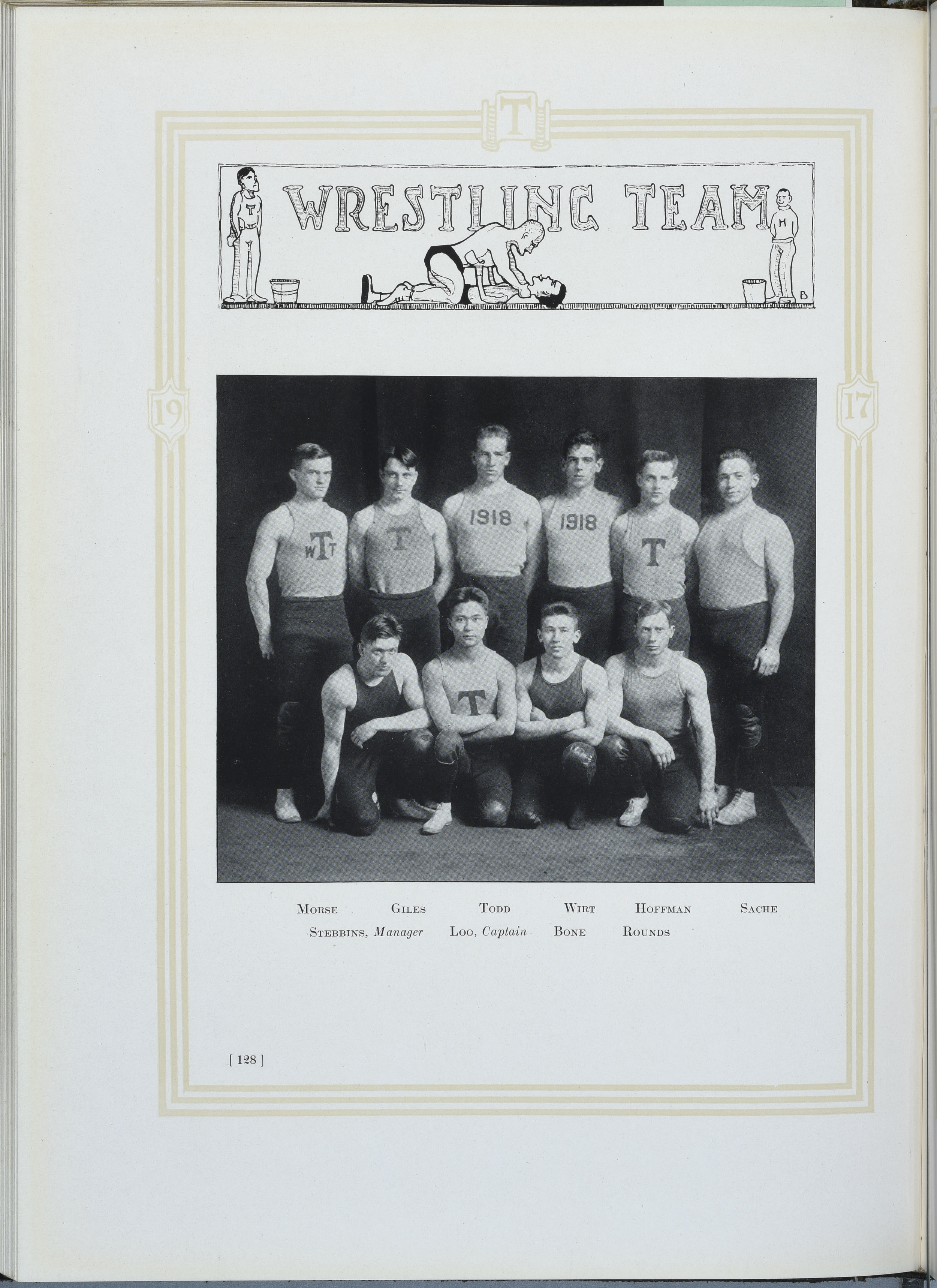 """""""Wrestling Season,""""  Technique  1917, 128.  Image courtesy MIT Archive and Special Collections."""