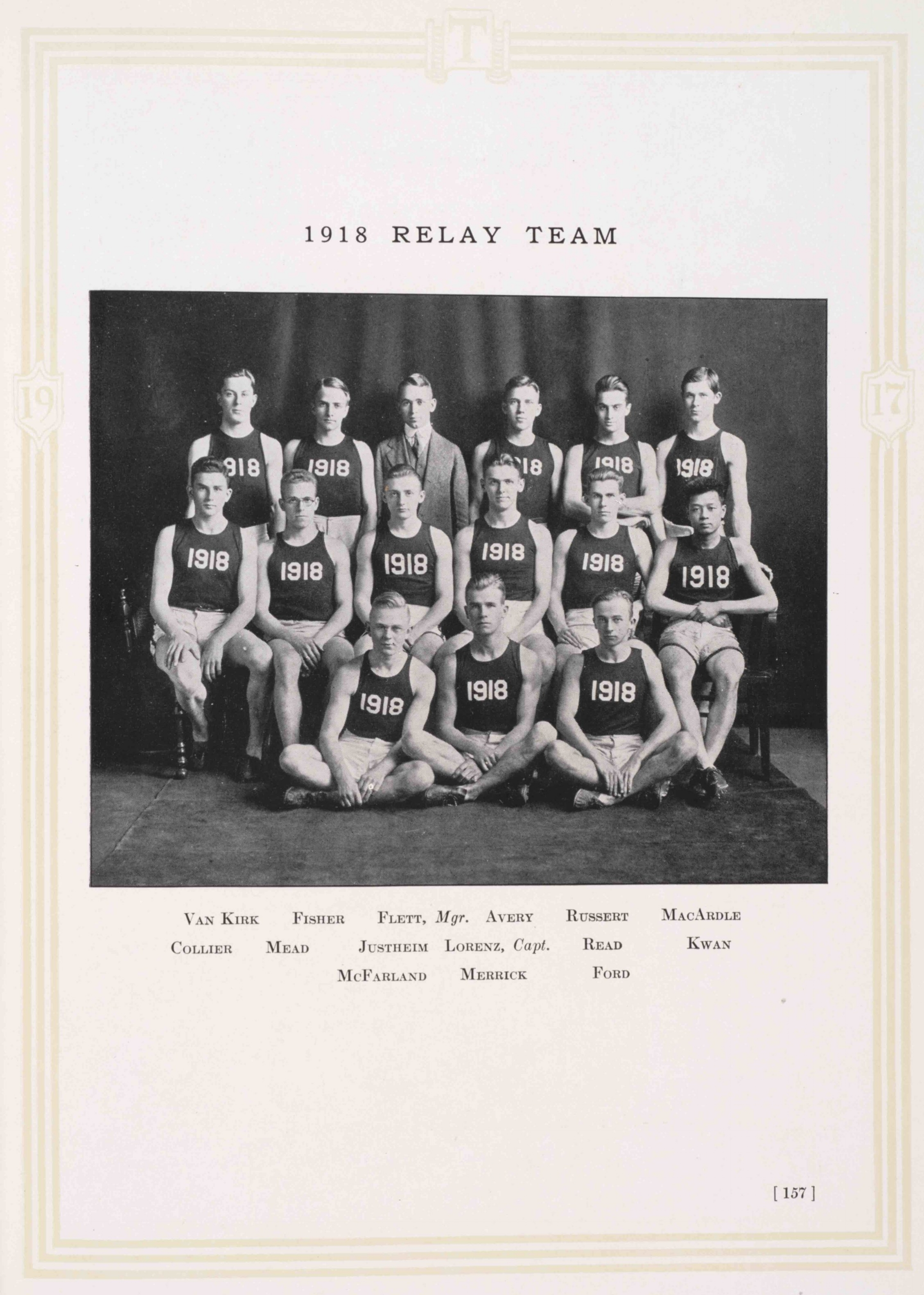 Class of 1918 Relay Team, Technique 1919.   Courtesy MIT Archives and Special Collections.
