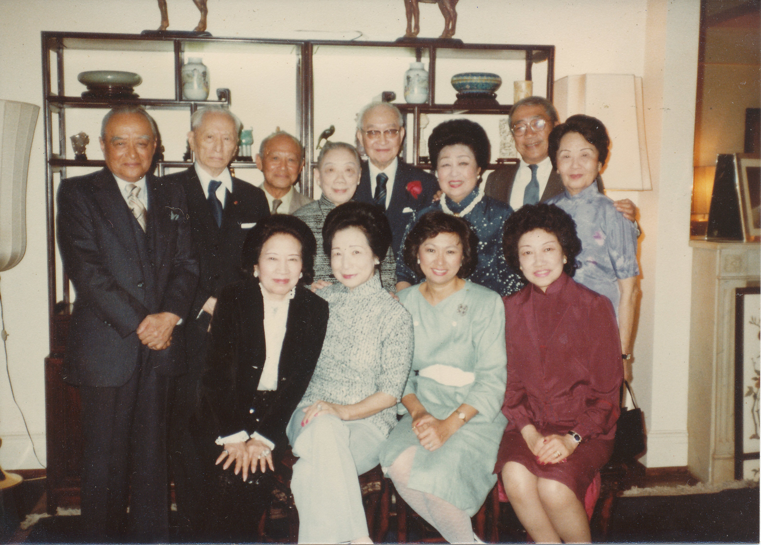 Back row left to right:YL Chang (longtime banker at the World Bank),Wellington Koo (Chinese diplomat), Wally Kwok ,JT Chu (chairman of Shanghai Commercial Bank),Mrs JT Chu,Mrs. Wellington Koo (Juliana Yen),TC Hsu (longtime head of Starr Foundation),Jane Wen (niece of diplomat Alfred SK Sze and wife of Dr YC Wen).  Front row left to right:Aileen Pei (stepmother of I.M. Pei),Julie Kwok (wife of Wally)Shirley Young (daughter of Mrs Koo, former GM executive and Committee of 100 member),Joan Chu (daughter of JT Chu), ca. 1980.Courtesy Leonard Woo.