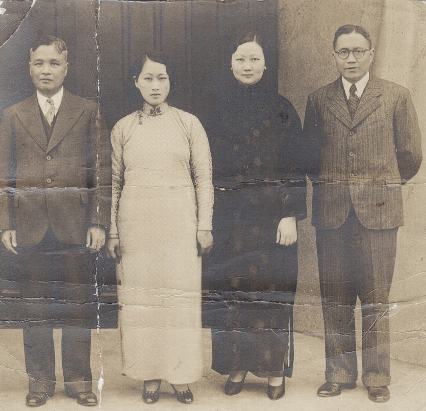 Han Ho Huang (far right) and wife Peggy Chiu , with older brother Han Liang Huang and second wife Zing Wei Tang, outside the American Community Church on Avenue Petain (now Hengshan Lu) in Shanghai in 1933. Han Ho and Peggy were active members of the church and from the late 1930s lived down the street. Photo courtesy Dede Huang.