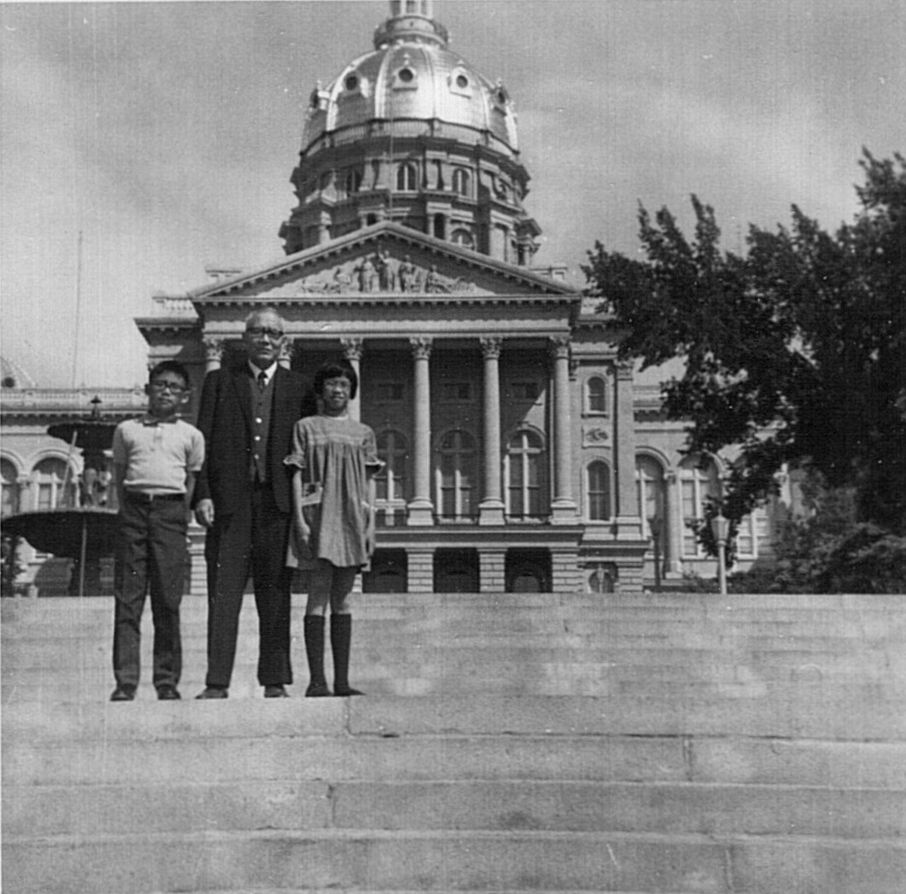 With grandchildren Carol & Stephen, Iowa, c. 1965.