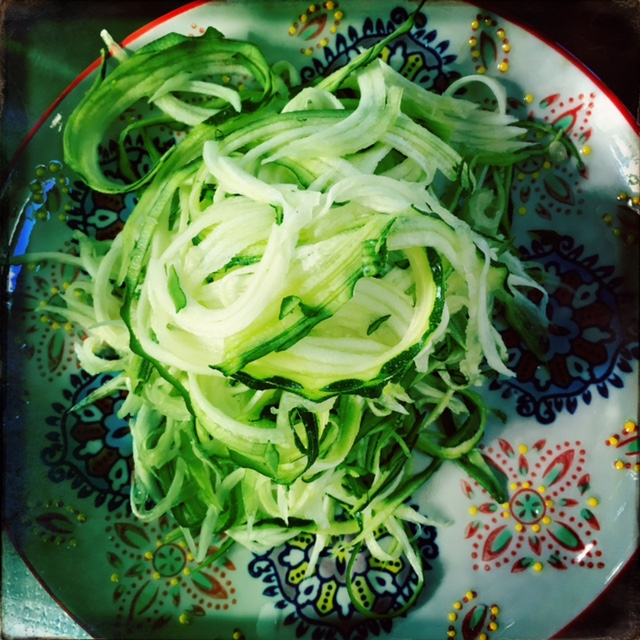 Zoodles! If you don't have a zoodler, just use a veggie peeler to create ribbons.