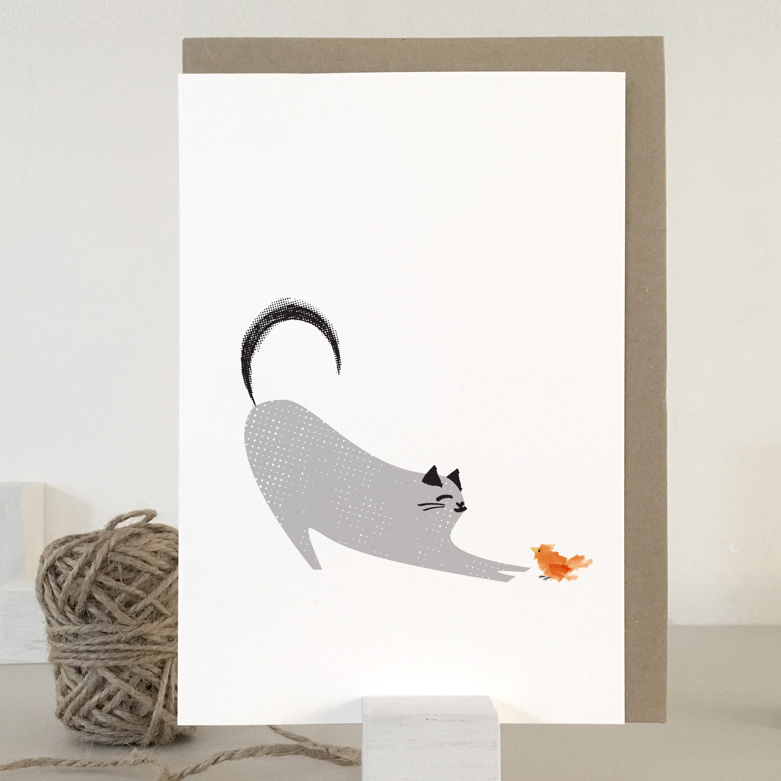 Cat and bird card: KC20