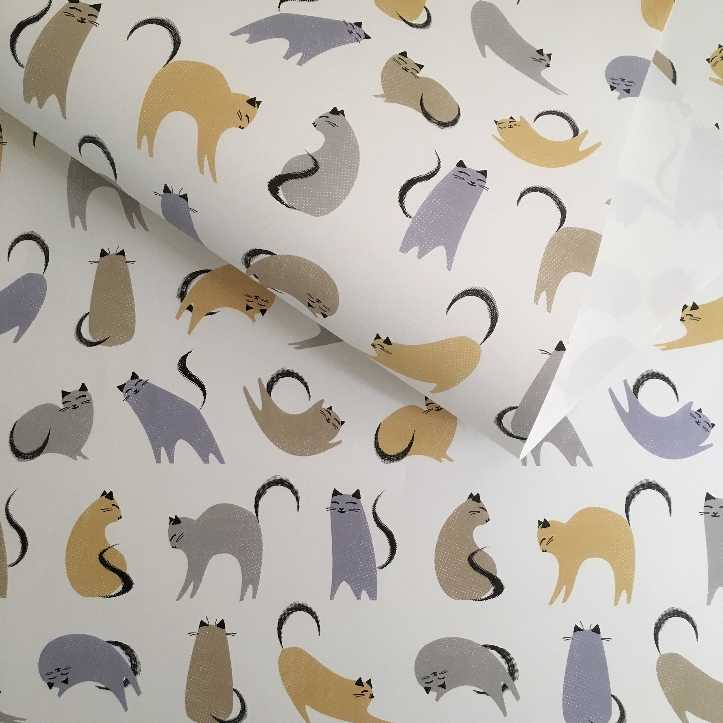 Wrapping paper, multi-colour cats: WP_KCMC_02