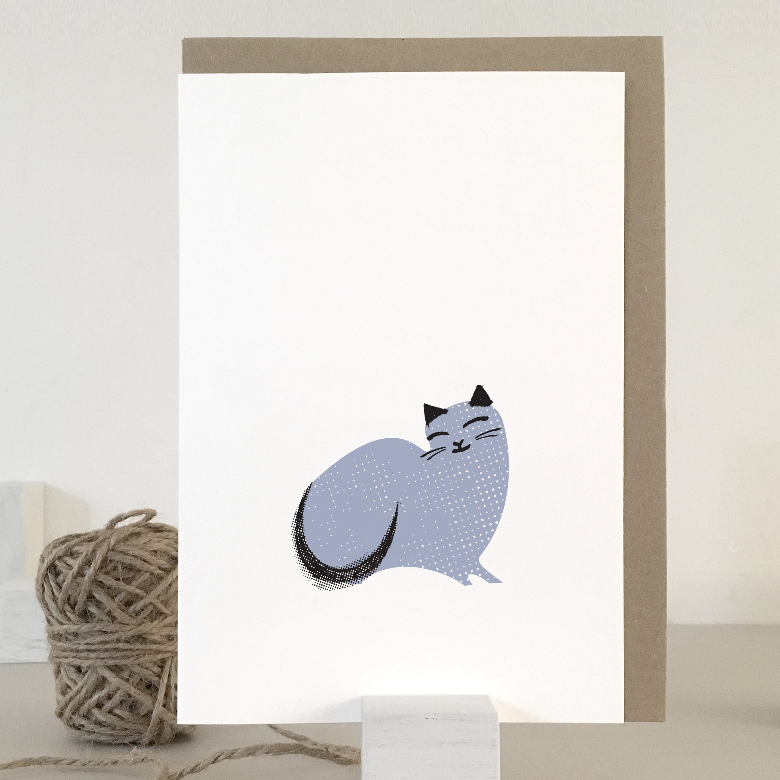 Sleeping cat card