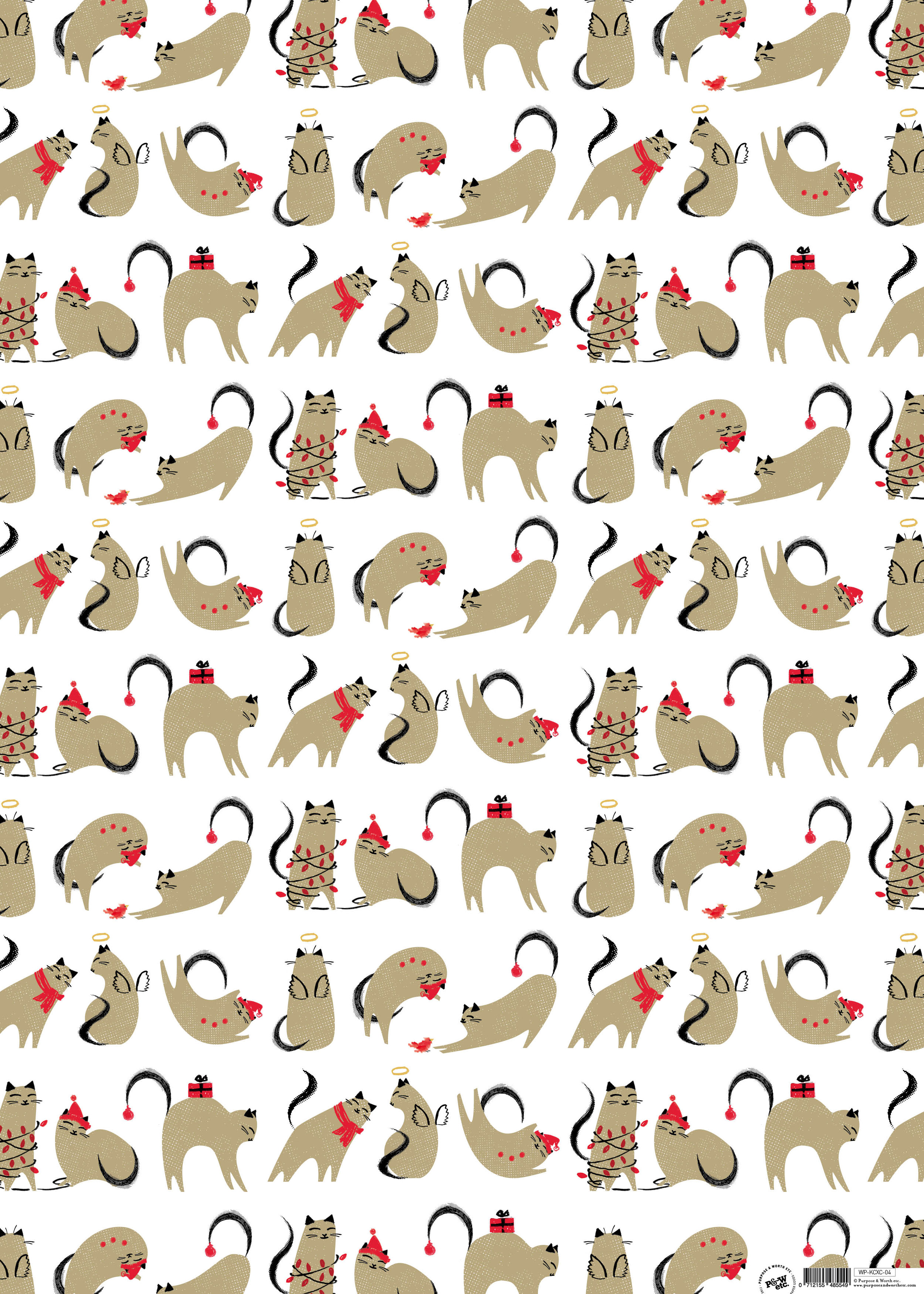 Cat christmas wrapping paper: KCXC_04, matching cards available