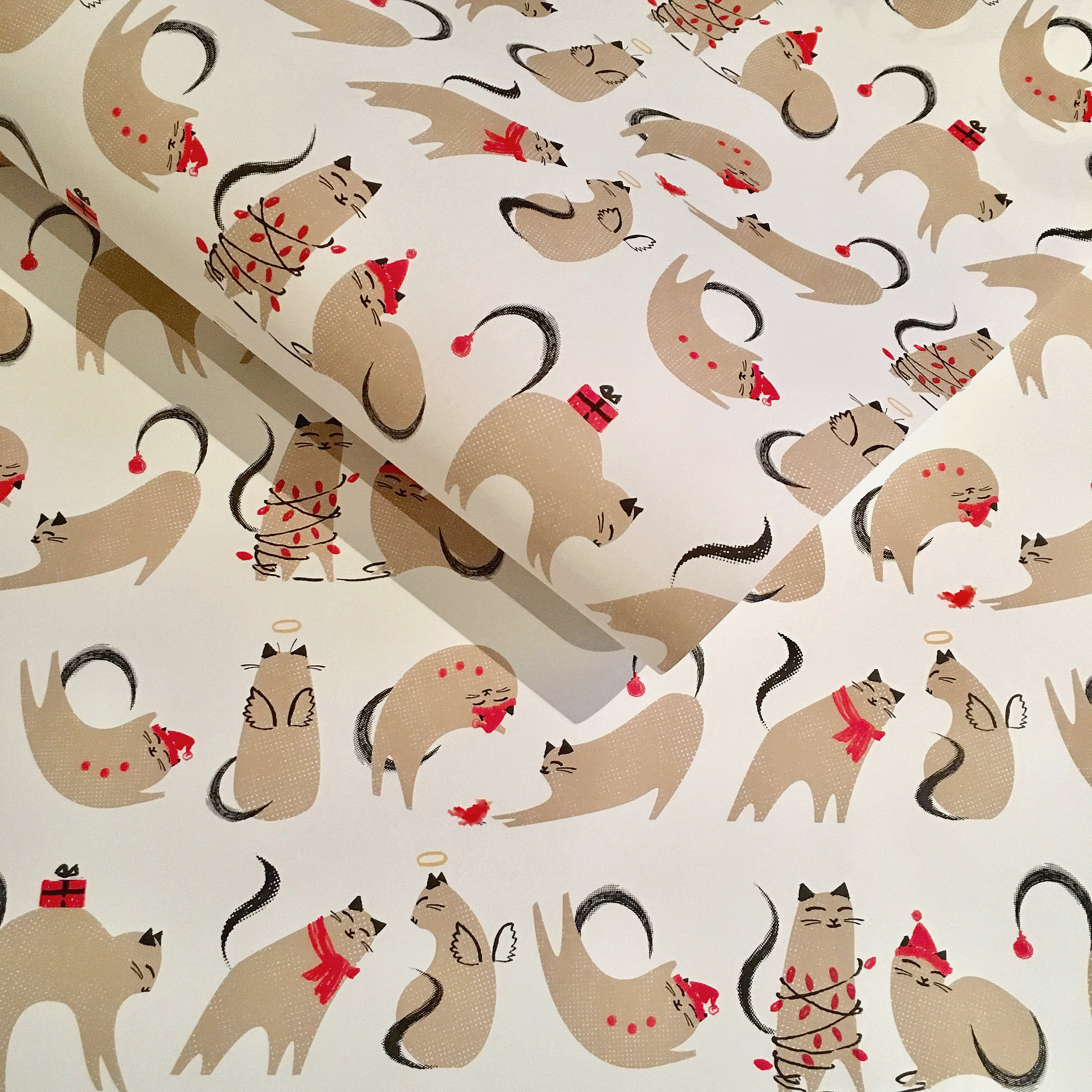 Wrapping paper, christmas cats: WP_KCXC_04