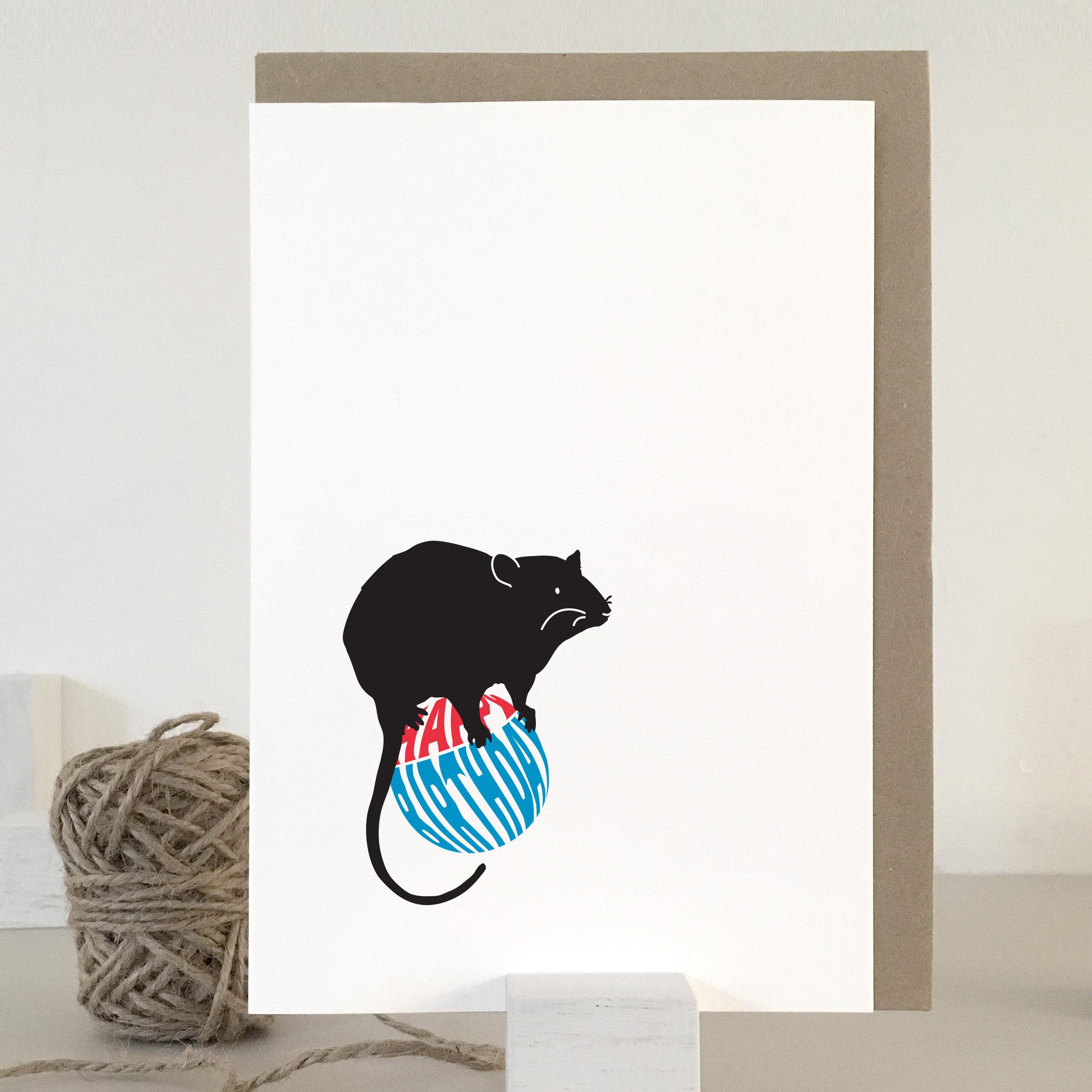 Rat birthday card: NBB06
