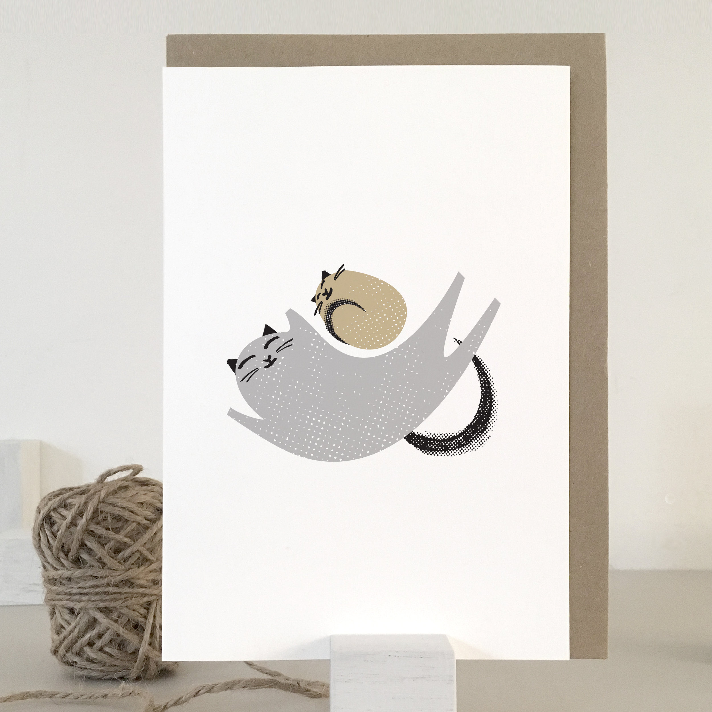 Cat nappin' fur baby card: KC35