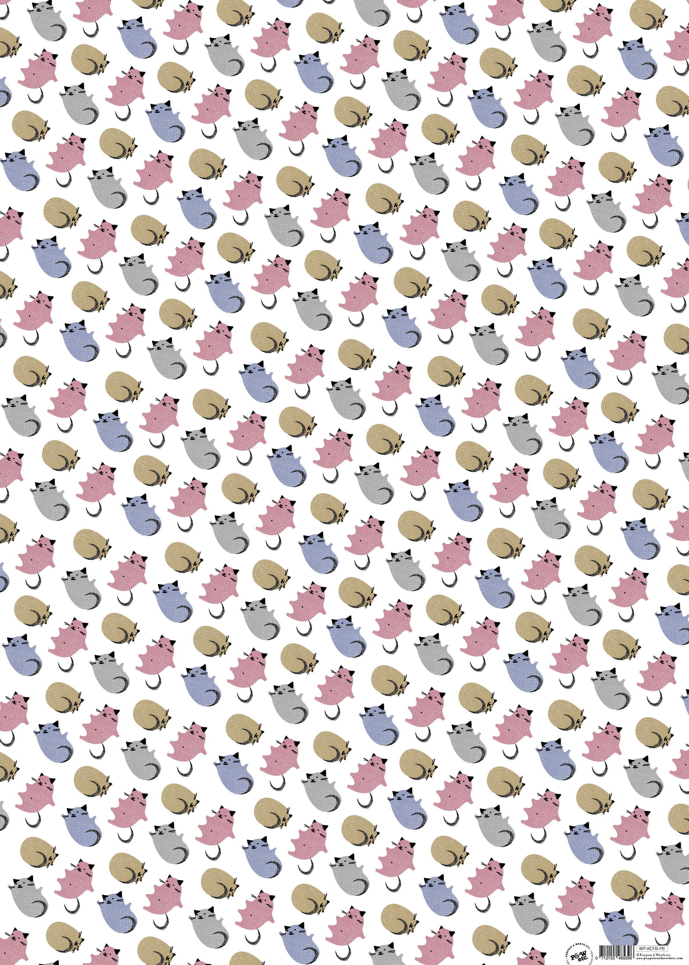 Kitty-corner new baby cat wrapping paper: WP_KCFB_PB, matching cards available