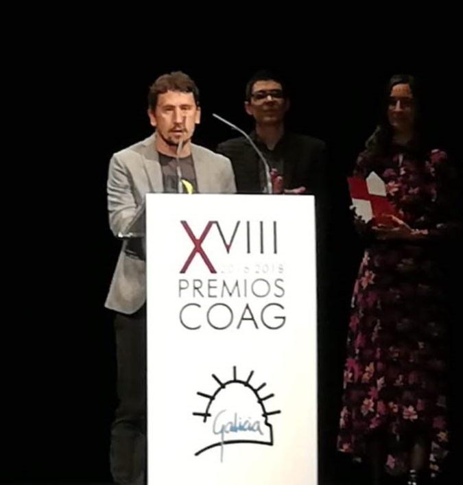 Faustino Patiño, en el momento de entrega del premio por el COAG