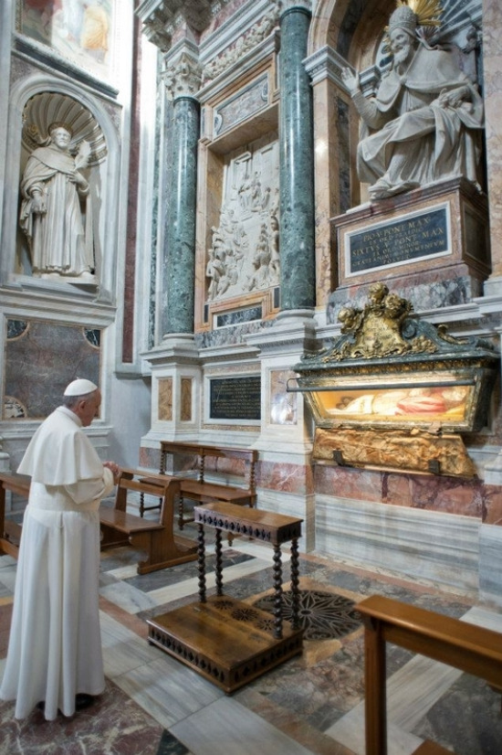 On March 14, barely 12 hours after his election, Pope Francis quietly left the Vatican early on Thursday to pray for guidance at a Rome Basilica of Santa Maria Maggiore, the oldest church in the world dedicated to our Blessed Mother, Mary. He is pictured here prayerfully visiting the tomb of Pope St. Pius V (1566-1572) whose incorruptible body has lain entombed here since 1698. Pope Francis also prayed before a famous icon of the Madonna called the  Salus Populi Romani , or  Protectress of the Roman People .