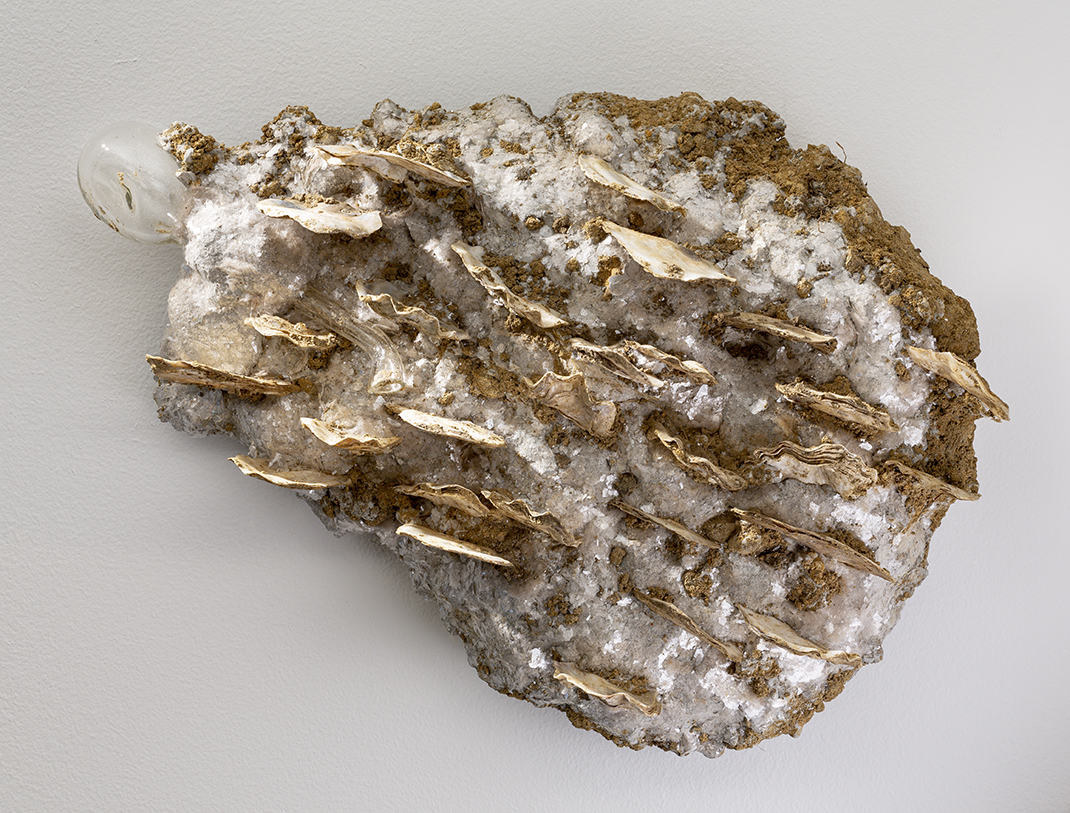 Buden, Alta, Lamina, 2019, Rockite, oyster shells, mica, handblown glass, dirt, 14 x 9 x 3 inches.jpg