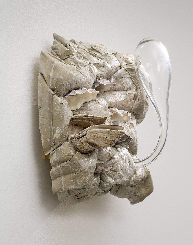Buden, Alta, Resilium, 2019, Rockite, mica, handblown glass, oyster shells, 13 x 13 x 7 inches.jpg