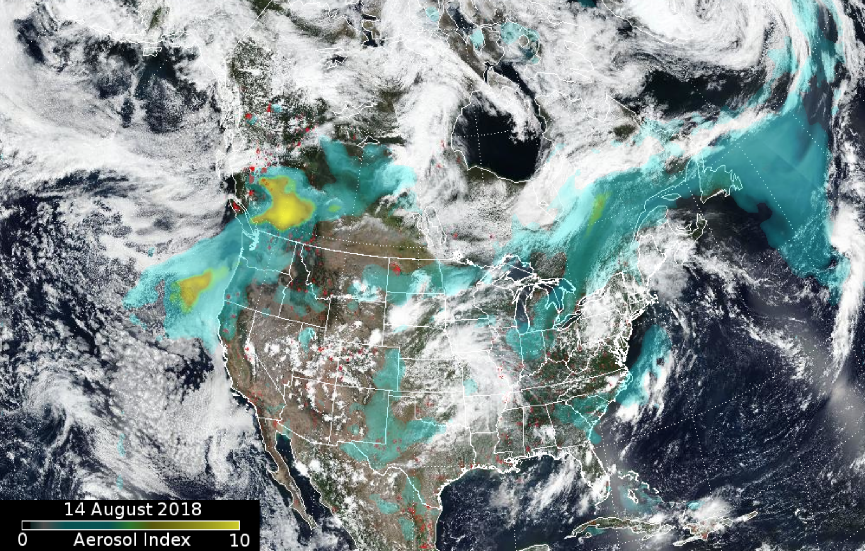 Satellite map of the spread of wildfire smoke on Aug 14, 2018 via https://ozoneaq.gsfc.nasa.gov/omps/blog/2018