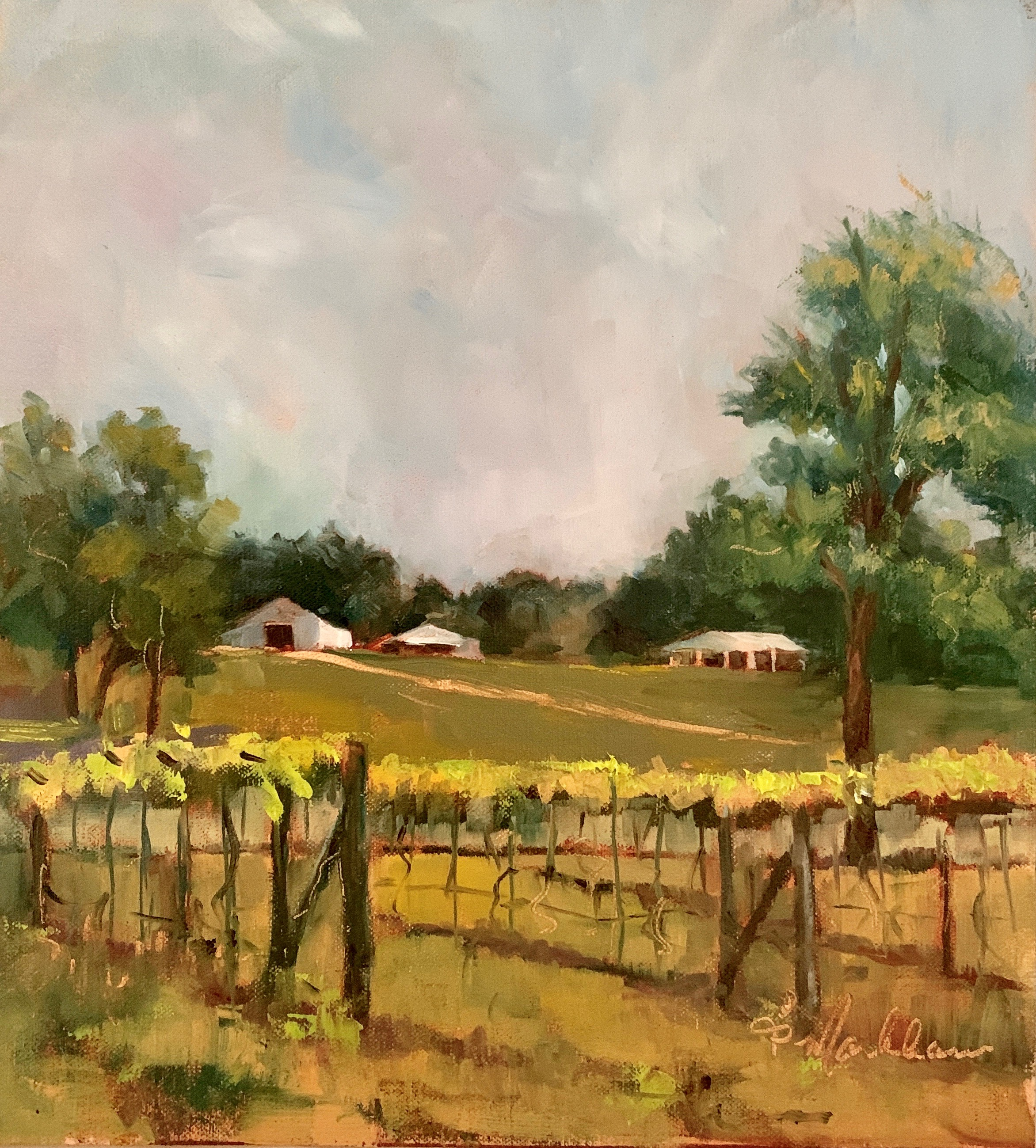 In the Vineyards, 9x 12, oil on canvas; $300