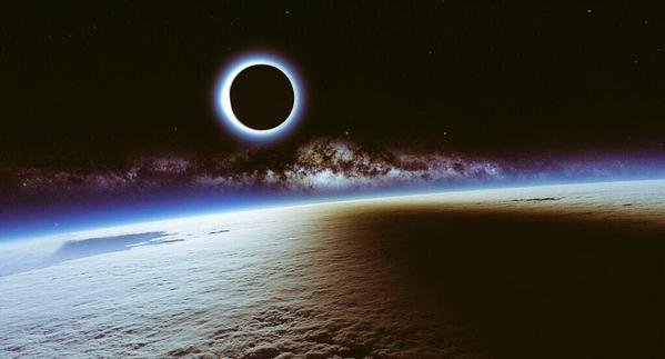 peachdusk :           A solar eclipse and the Milky Way seen from the ISS     I am practically in tears over how beautiful this image is.     same. i promise i teared up a little….