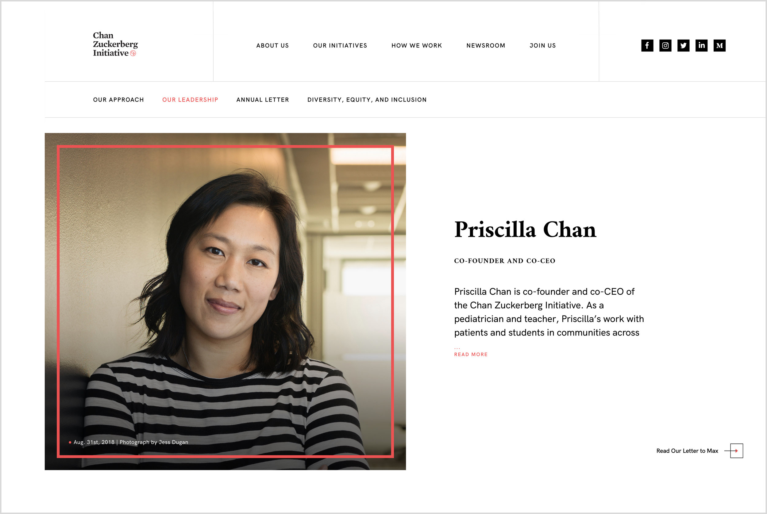 Priscilla Chan, Co-Founder and Co-CEO, Chan Zuckerberg Initiative, for the  Chan Zuckerberg Initiative .