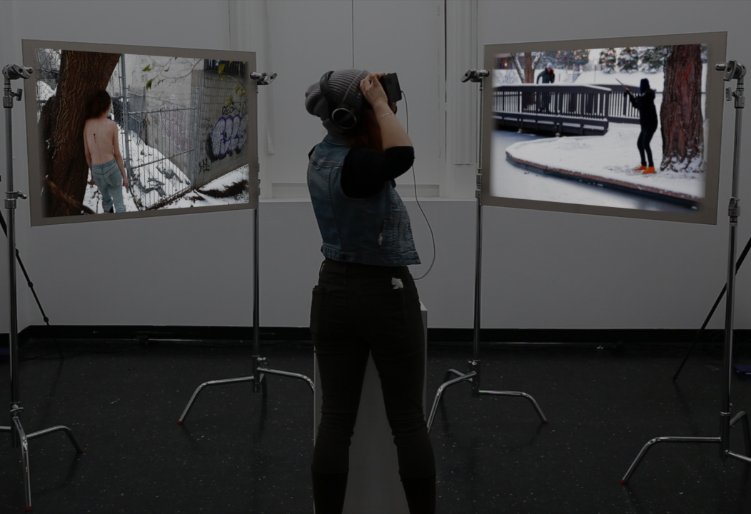 Rébecca Mamane,  Crosspoint , 2016, silent rear-projected video installation, VR video with sound