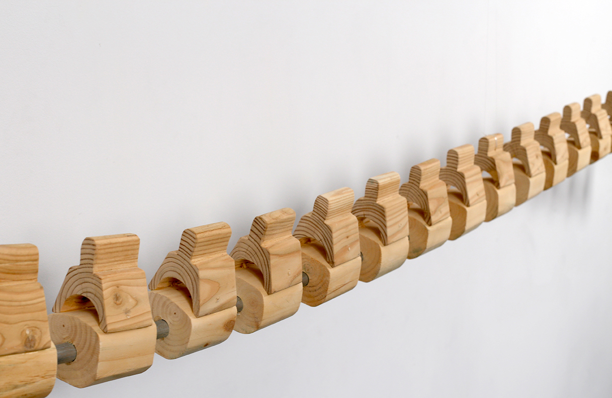 Isabelle Sarazin-Frey,  Whale Spine,  Wood, metal bar, glue, 123 inch (length), 4 inch (width), 8 inch (height), 2015