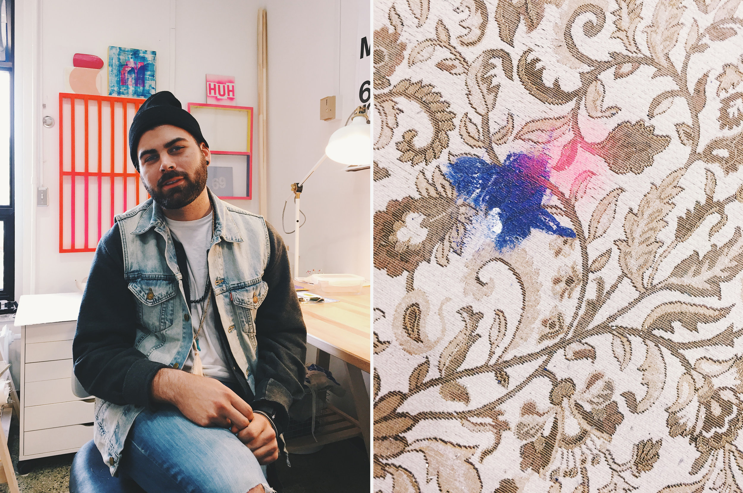 Sam Loewen (left) and his studio rug (right)