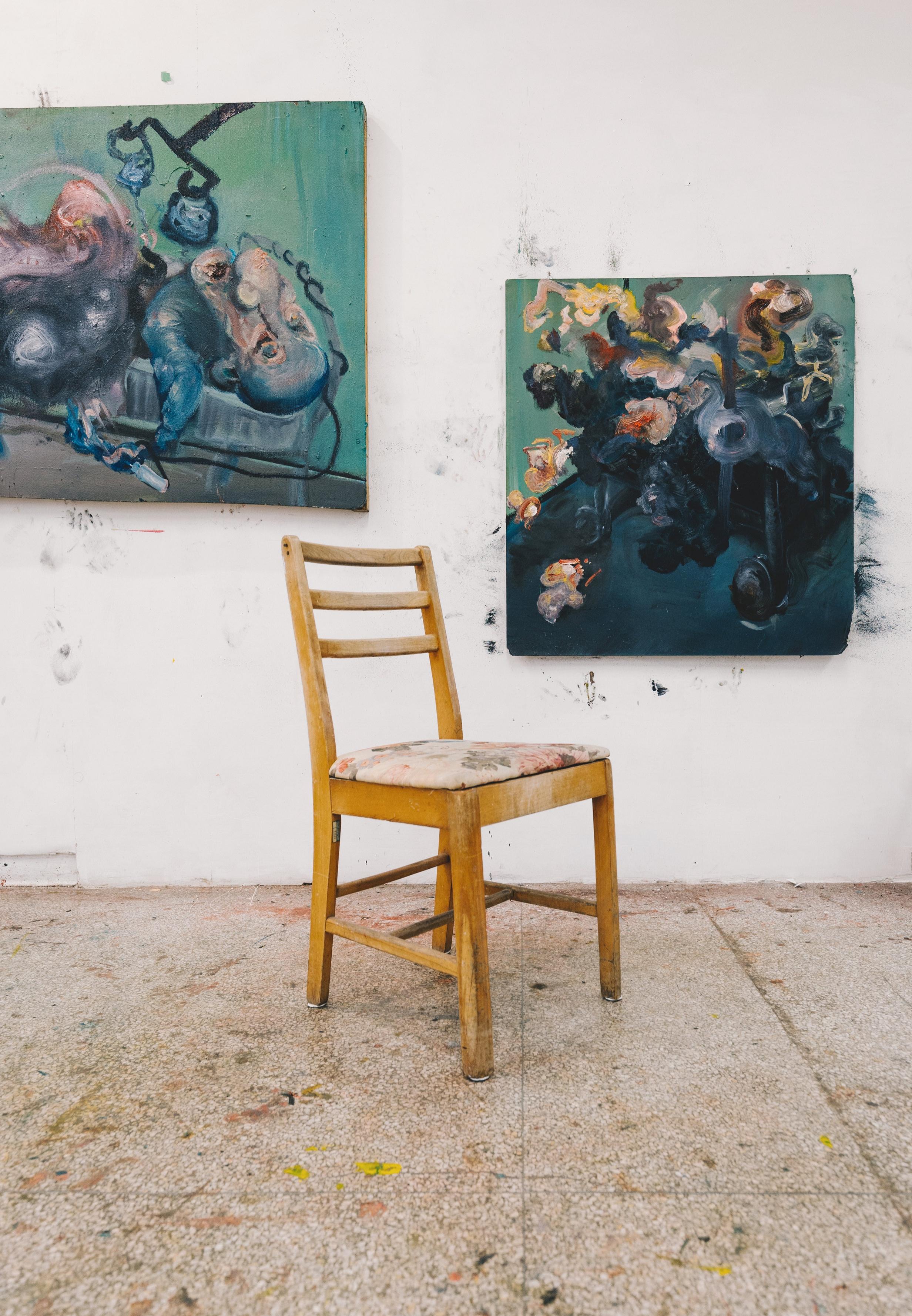 Katherine Wyatt,  Figure in a Blue Room II & III,  oil on panel (two of a triptych)