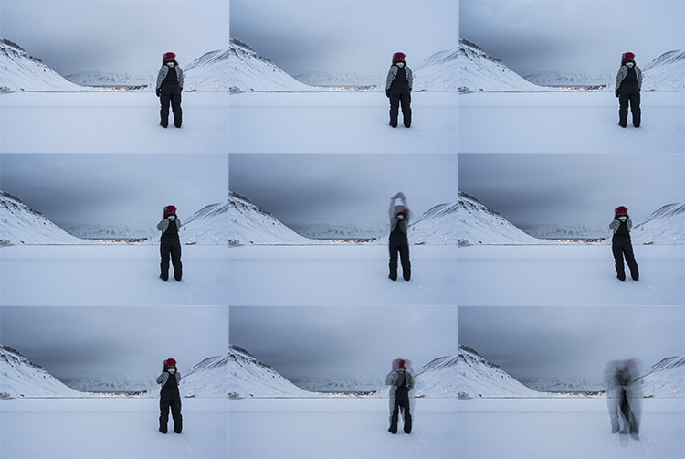 Practicing Standing 21 (42 minutes, in the midst of civil twilight, down the valley towards Longyearbyen and Hiorthfjellet (with Bowie)). February 6, 2018. Galleri Svalbard