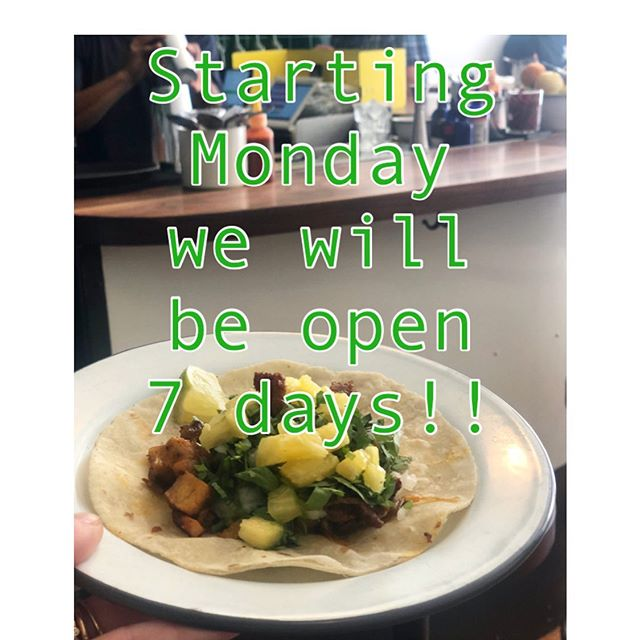 Starting Monday 9/23 we will be open for SEVEN days ! 🌴