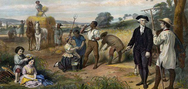 A more benevolent image of Washington the slave owner.
