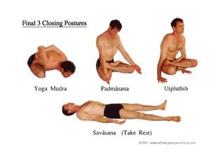 Closing postures. 10 breaths each.  Take rest in Savasana at least 5 minutes.
