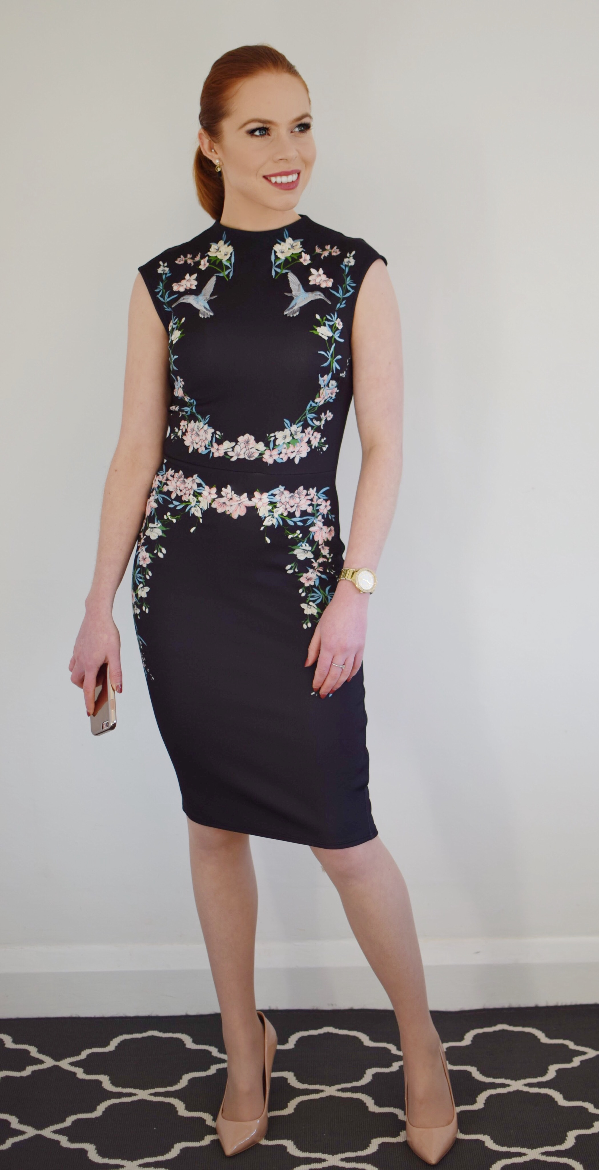 For today's office look: I'm wearing an embroidered dress from Lipsy, nude Aldo heels, Michael Kors watch and Cynthia Rowley phone cover (all linked below).
