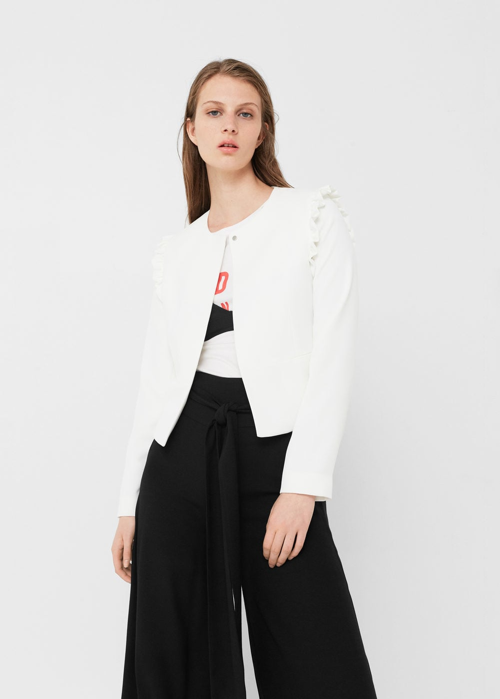 mango structured ruffle blazer - office fashion - how to build rapport