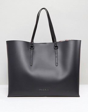 Armani Jeans Large East West Tote Bag in Black- office fashion - how to build rapport