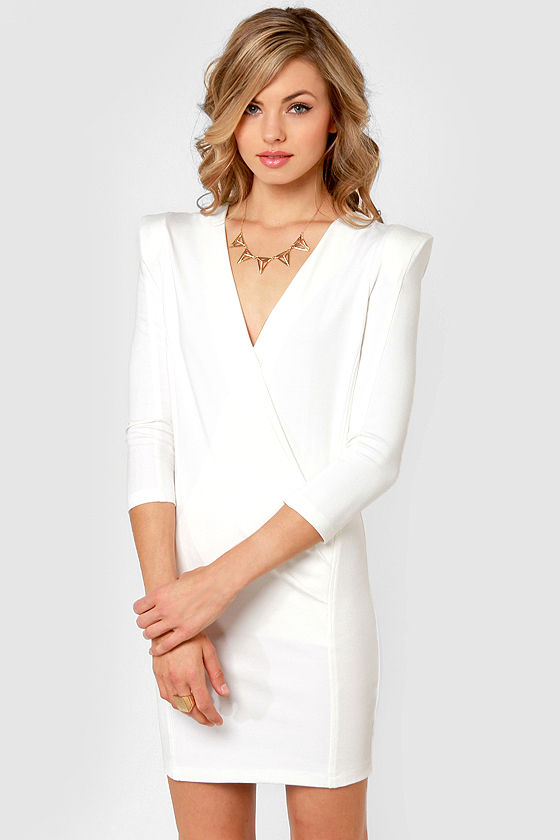 lulus - tailored ivory dress with shoulder pads - corporate fashion