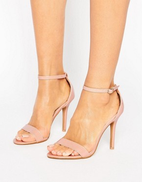 Glamorous Nude Patent Two Part Heeled Sandals- asos - office fashion