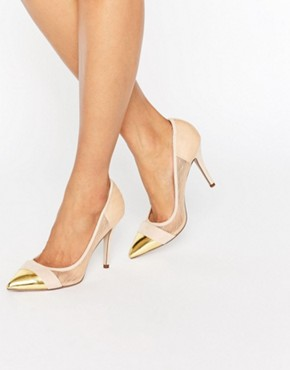 paper Dolls Orla Nude Sheer Court with Gold Toe Cap- asos - office fashion