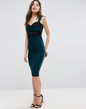 asos -Vesper Pencil Dress With Lace Insert - office fashion- deals in high heels