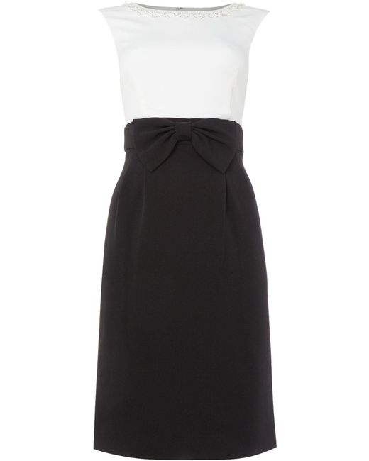office fashion - black and white bow dress - briar prestidge - tahari -Black And White Shift Dress With Embellished Coll