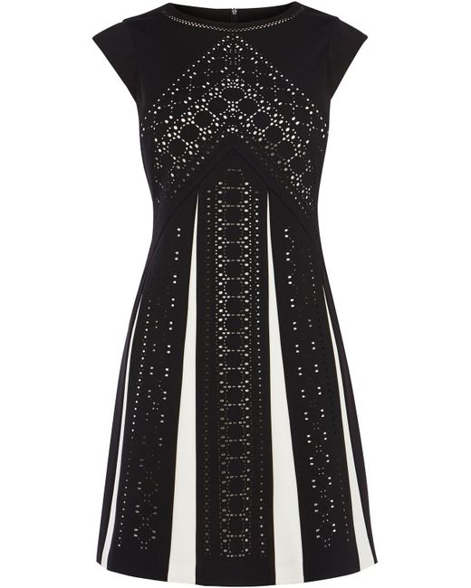 Black and white office dress- briar prestidge- deals in high heels- Karen MillenLaser Cut Monochrome Dress