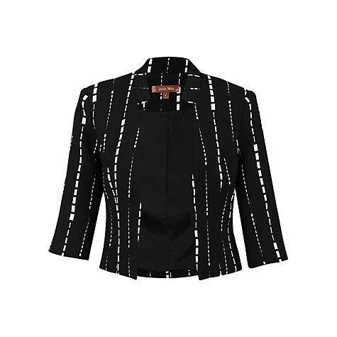 office cropped blazer - briar prestidge - deals in high heels - Jolie Moi- Women's Black Geo Print Open Front Blazer