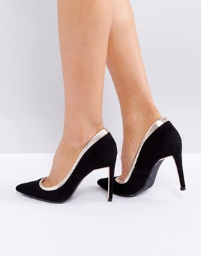 office black and white court heels - briar prestidge- deals in high heels -Ted Baker Sayu Black and Rose Gold Court Shoes - asos