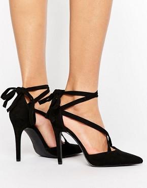 office black court heels - briar prestidge- deals in high heels -New Look Suedette Tie Back Pointed Court Heel - asos