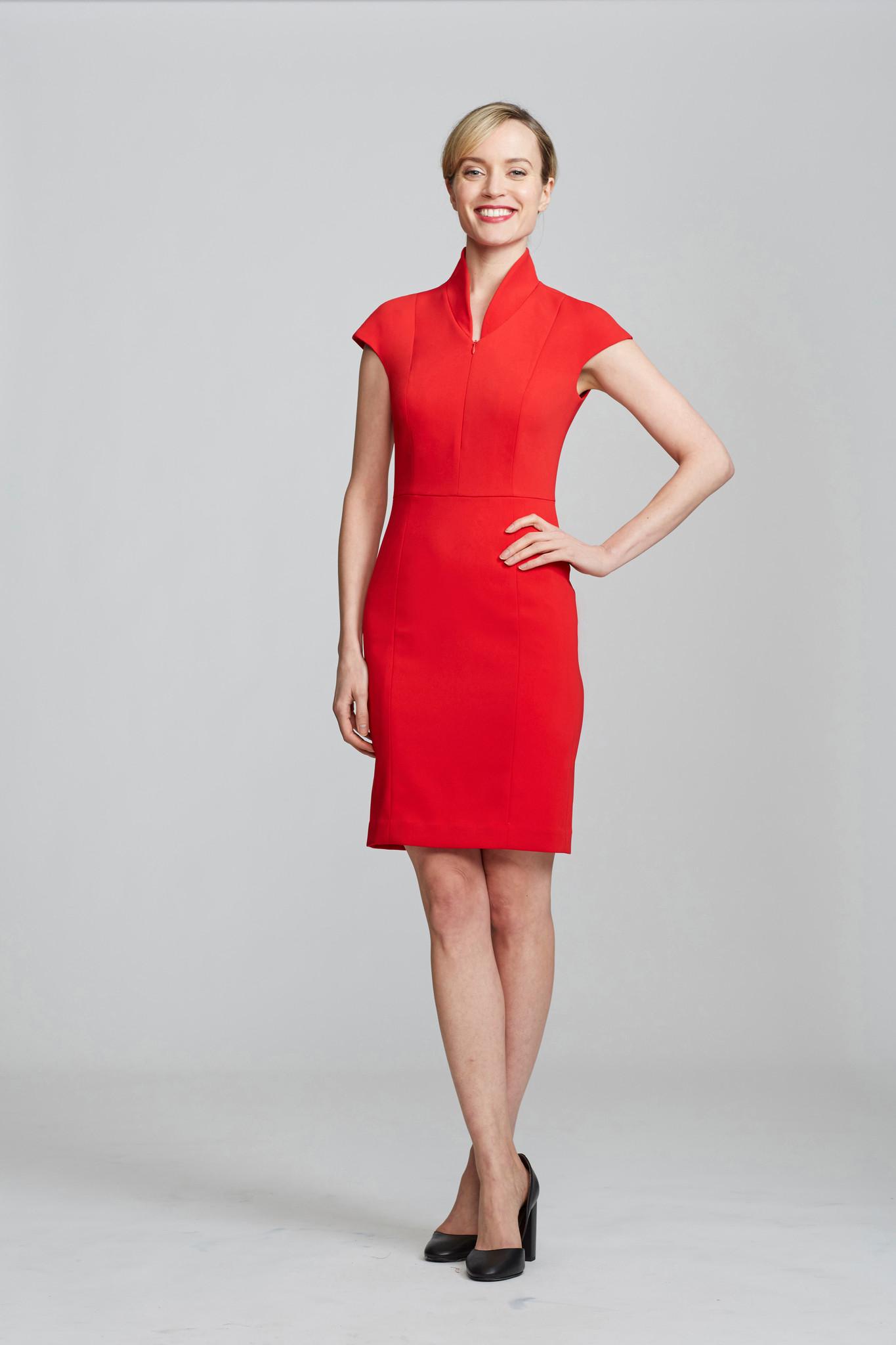 nora gardener interview - the evelyn dress power red - briar prestidge - deals in high heels