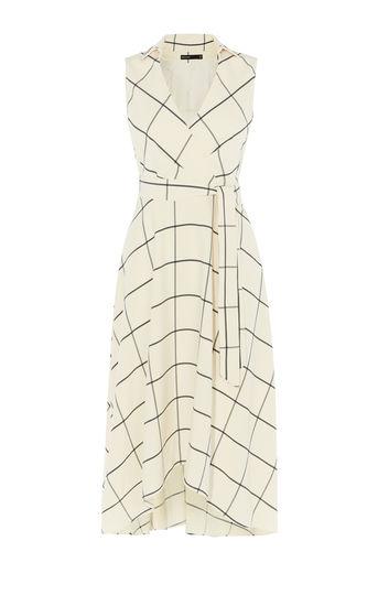 karen millen -WHITE MIDI WRAP DRESS- WHITE/MULTI - office fashion - briar prestidge - deals in high heels